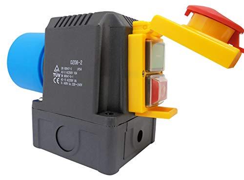 Schalter- Stecker Kombination DZ08-2 230V mit NotAus Klappe - Baugleich: KEDU KOA2Y