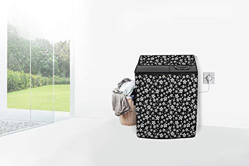 Stylista Semi Automatic Washing Machine Cover Compatible for Samsung 6.5 kg, 7 kg, 7.2 kg, 7.5 kg, 8 kg, 8.2 kg & 8.5 kg Floral Pattern Black