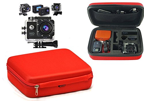 Navitech - Rosso Custodia per videocamere d'azione per Il GreatCool 4K ActionCamera