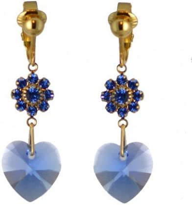 HEARTS & FLOWERS Gold Plated Sapphire Crystal Clip On Earrings