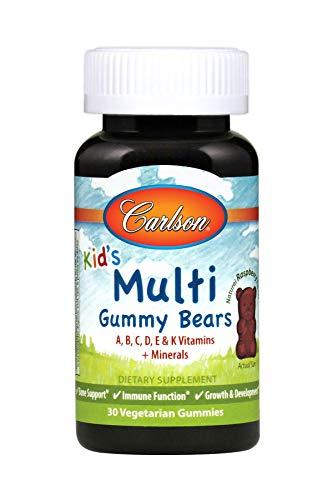 Carlson - Kids' Multi Gummy Bears, A, B, C, D, E, K Vitamins + Minerals, Bone Support, Immune Function, Growth & Development, Natural Raspberry Flavor, 30 Vegetarian Gummies