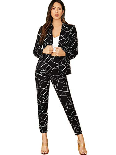 SheIn Women's Two Piece Plaid Open Front Long Sleeve Blazer and Elastic Waist Pant Set Suit Small Black Geometric