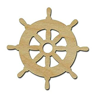 New Wooden pieces - Helm Ship Wheel Shape Unfinished Wood Cut Out Nautical Theme - Variety of Sizes  Small 2  Tall 4 pieces  - Wooden Pieces for Crafting by LUKAS WINGES