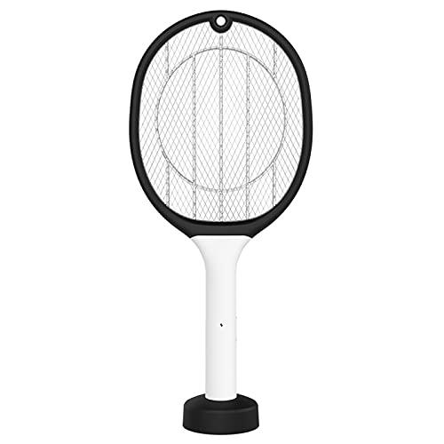 Gaojuan Lampada assassina 2 in 1 elettrica Zanzara Swatter Fly Summer Cordless Pest Control Bug Zapper Indoor Outdoor Racket USB Ricaricabile(Nero)