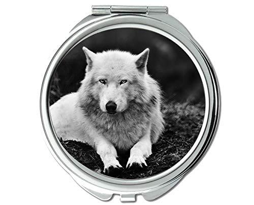 Specchio, Specchio da viaggio, Specchio tascabile animale lupo animale, 1 ingrandimento X 2X