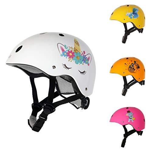 MöuR Kinder Fahrradhelm (52-56 cm) Junge und Mädchen (Weiß, S)