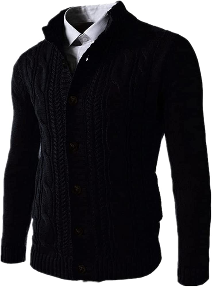 NP Color Sweater Men Autumn Winter Knitted Coat Collar Thick Homme