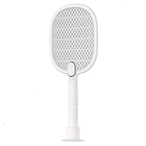 FVAL Eléctrico Mosquito Mosca Loco Matamoscas, Protección de Malla de Seguridad de 3 Capas/USB Recargable/Iluminación LED/Base de Almacenamiento,Repelente Plagas Asesino para Jardinería, Playa