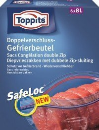 Toppits® Doppelverschluss - Gefrierbeutel (6 x 8 Liter / Safeloc Verschluss) XXL - BEUTEL
