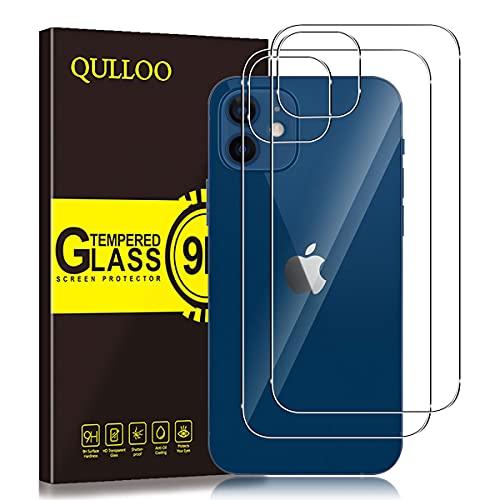 QULLOO Protector de Pantalla Trasera para iPhone 12, [2 Piezas] 9H Dureza Anti-Huellas Cristal Templado Trasera de Vidrio para iPhone 12