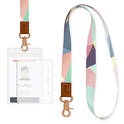 Lanyard with ID Holder for Women, Vzrflee Cute Lanyards with 2 Pieces ID Holders