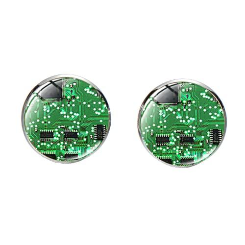 Novedad placa de circuito de ordenador Gemelos de vidrio Personalidad Top Class Lujo Camisa Manga Botón Nerd High Tec Fan Regalos