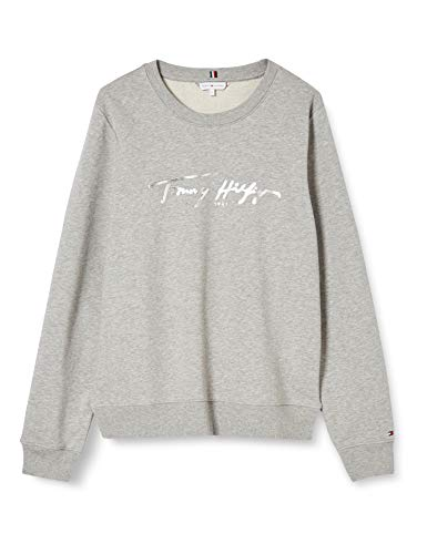 Tommy Hilfiger Damen Bobo Regular C-nk Sweatshirt Ls Pullover, Grau (Light Grau Htr), S