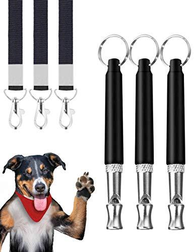 Rcoko Hundepfeife,3 Stücke Professionelle Ultraschall Pfeife,Einstellbare Hochfrequenz Hunde Zubehör,mit Schlüsselband Hund Training Kit HundPfeife zum Aufhören des Bellens,für Hundetraining Schwarz