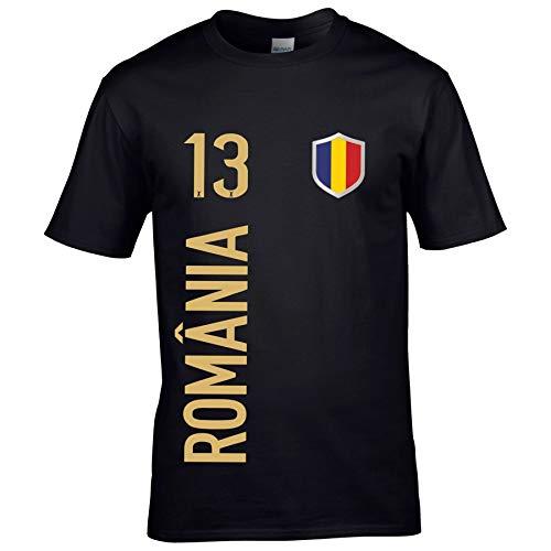 FanShirts4u Herren Fan-Shirt Jersey Trikot - RUMÄNIEN/ROMÂNIA - T-Shirt inkl. Druck Wunschname & Nummer WM EM (S, ROMÂNIA/schwarz)