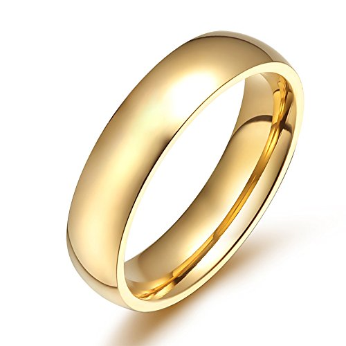 JAJAFOOK Men Women Stainless Steel Smooth Rings 4MM Width,Gold,High Palted