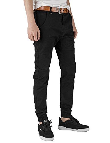 Italy Morn Mens Chinos Casual Pants Khakis Joggers Dress Slim Fit Black (L(36Wx31L), Black)