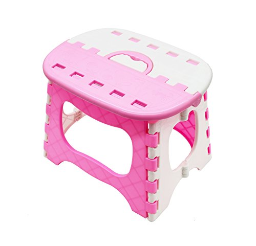 APIKA Foldable Step Stool For Kids Plastic Portable Easy Carrying Suitable For Travel Camping Fishing Outdoor Use(pink)