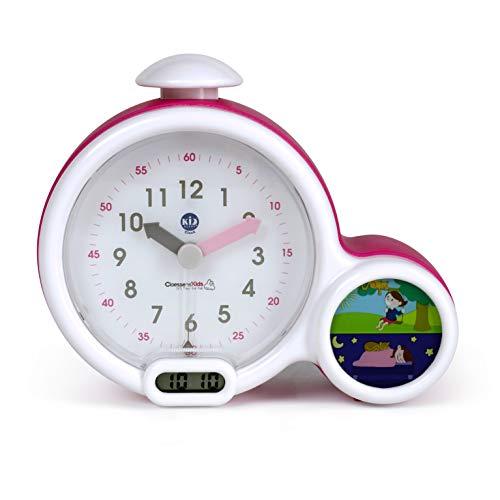 Claessens' Kid - CK0011-KSCL-P - L'horloge - Réveil Enfant Educatif Jour/Nuit Lumineux - Double Affichage et 3 Alarmes au choix - Fonctionne Sur Secteur ou à Piles - Rose