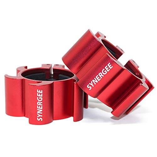 Synergee Rogue Red Aluminium Barbell Collars – Locking 2' Olympic Size Weight Clamps - Quick Release Collar Clips – Bar Clamps Great for Crossfit,...