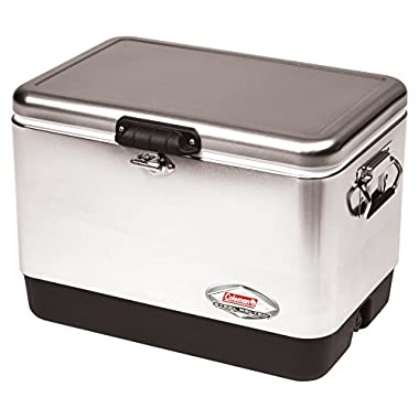 Coleman Steel-Belted Portable Cooler, 54 Quart, Stainless Steel