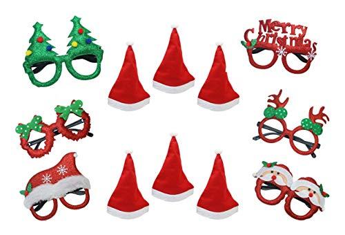 Moji Set di 12 Cappelli di Babbo Natale e Occhiali di Natale, Cappelli di Babbo Natale Unisex con Occhiali per Il Natale di Capodanno Festive Holiday Partys One Size Fits all