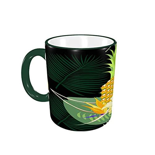 Taza de café piña Tropical exótica Palmera Hojas Tazas de café Tazas de cerámica con Asas para Bebidas Calientes - Capuchino, café con Leche, té, café Regalos 12 oz Forest Green