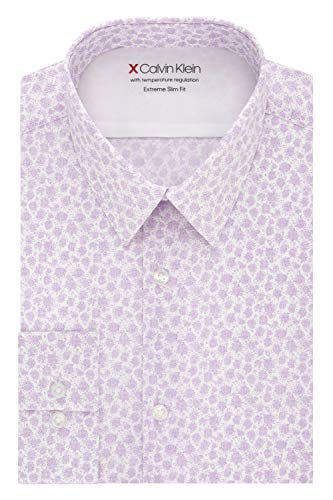 """Calvin Klein Men's Dress Shirt Xtreme Slim Fit Thermal Stretch Print, Wild Orchid, 14""""-14.5"""" Neck 32""""-33"""" Sleeve (Small)"""