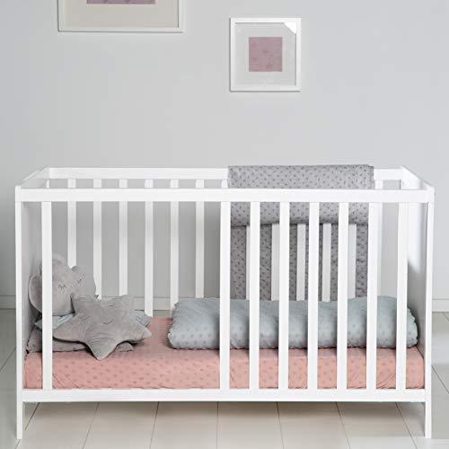 Baumann roba Beistellbett, weißes Kinderbett und Anstellbett ans Elternbett, höhenverstellbares Babybett mit 5 Schlupfsprossen, inkl. Lattenrost, Liegefläche 60 x 120 cm