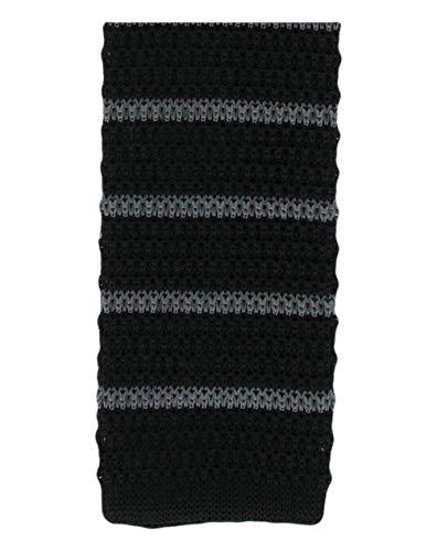 Michelsons of London Noir/Charbon soie tricoté rayé maigre cravate de