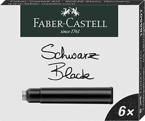 Faber-Castell - Vaso de tinta, color Negro Tintenpatrone Standard 6er