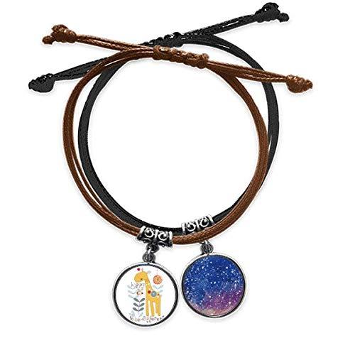 Bestchong Cartoon Giraffe Yellow Aniamal Bracelet Rope Hand Chain Leather Starry Sky Wristband