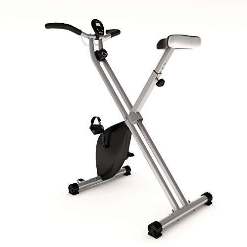 Physionics Bicicleta estática – con pantalla LCD, asiento ajustable y resistencia, plegable, hasta 120 kg, color gris – Ergómetro, bicicleta F, bicicleta estática, fitness