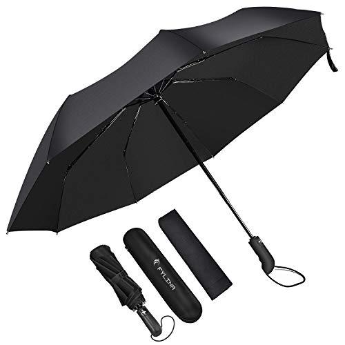 FYLINA Paraguas Plegable Automático Paraguas Impermeable de Viaje con 9 Varillas Reforzadas y Forro de Secado Rápido 210T Estuche Fácil de Transportar y Asa Antideslizante