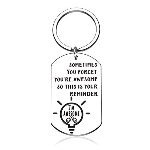 Funny Inspirational Christmas Birthday Keychain Gift for Daughter Friend Son Women Men Teen Girl from Dad Mom Thank You Keyring Gift for Coworkers Brother Employees Couples Graduation Keychain Present