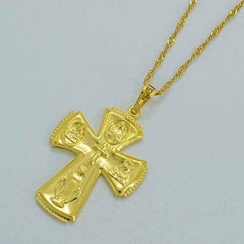 ZJJLWL Co.,ltd Collar Virgen María Color Dorado Cruz Colgante Collar Madre de Dios Joyería Adornos religiosos rusos
