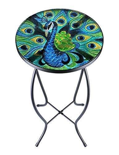 jidan Round Beistelltisch Metall-End Nacht Kleine Tische Patio Beistelltisch Anlage Station im Freien Akzente Tisch Couchtisch Glasplatte runder Balkon Couchtisch (Color : Peacock)