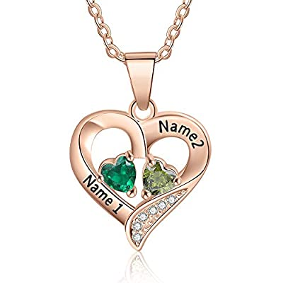 Love Jewelry Sterling Silver Personalized 2 Names Necklace with 2 Heart Simulated Birthstone Couple Pendant Necklace for Women (Rose Gold)