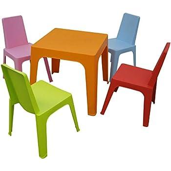resol Julieta set infantil para interior, exterior, jardín - 1 Mesa Naranja + 4 Sillas Roja/Rosa/Azul/Lima: Amazon.es: Hogar