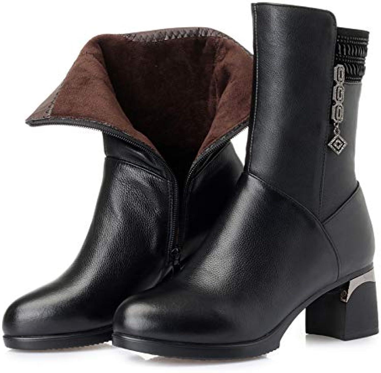 Shukun Stiefeletten Winter PU Stiefel Frauen Stiefel mit dicken mit schwarzen Martin Stiefel warme Baumwolle Stiefel groe Gre Mutter Baumwollschuhe