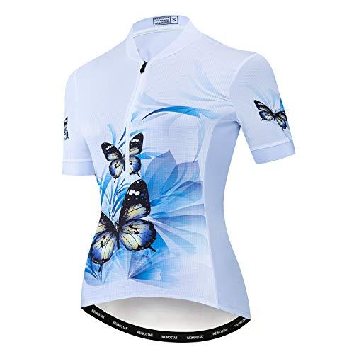 Trikot Radtrikot Damen Half Zipper Radfahren Kurzarm Jersey Bike Shirt Rennrad Kleidung Tops Blume Schmetterling