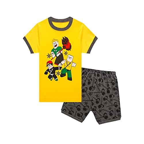 Suyaluoi Roblox - Pijama juvenil de verano para niños, camiseta amarilla, pantalón corto, conjunto de pijama para niña, amarillo, 6-7...