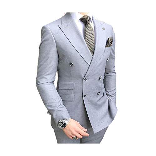 Outwear - Traje de hombre de 2 piezas para traje de baile de promoción y esmoquin casual de negocios, chaqueta y pantalones para boda 2020 Gris plateado XL