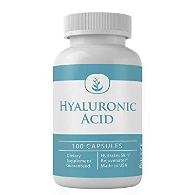 Natural Source Hyaluronic Acid, 100 Daily Capsule Supply, No Magnesium or Rice Filler, Made in The USA, Lab Tested, Non-GMO, Gluten-Free, 325mg Undiluted Hyaluronic Acid with No Additives*