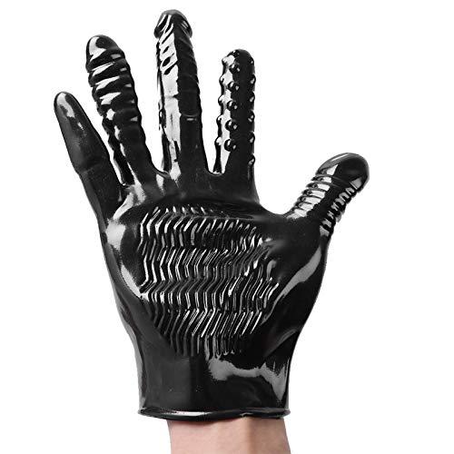 inlzdz 1 Stück PVC Erwachsene Massage Handschuh zum Flirten Massagehandschuh Männer Gewelltes Teasing Handschuhe Vibrationshandschuhe Schwarz One Size
