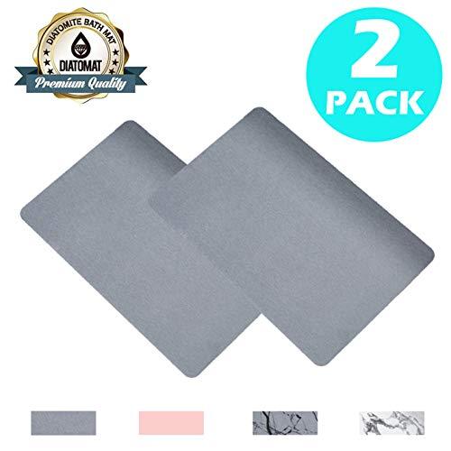 AltraTech Bath Mat Diatomaceous 24' x 15.4' Non Slip Bathroom Mats, Diatomite Bath Mat for Fast Drying (Pack of 2) (Grey)…