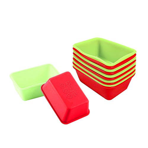Flunyina Rectangle Mini Silicone Loaf Pans Reusable Non-stick Cupcake and Muffin Baking Liners Bread Molds for Home, School, Baking Stores, Set of 12, Green & Red