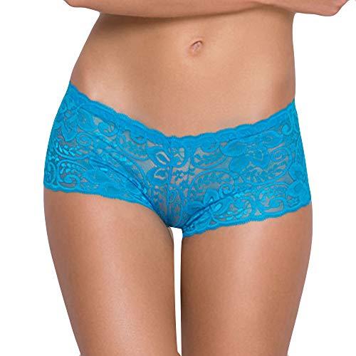 KaloryWee Culotte Dentelle Slip Lingerie Sexy Taille Basse La Mode Femme sans Couture Dame Shorty Pyjama sous-vêtement Slip Coton Chic Coton (Medium, 1-Bleu)