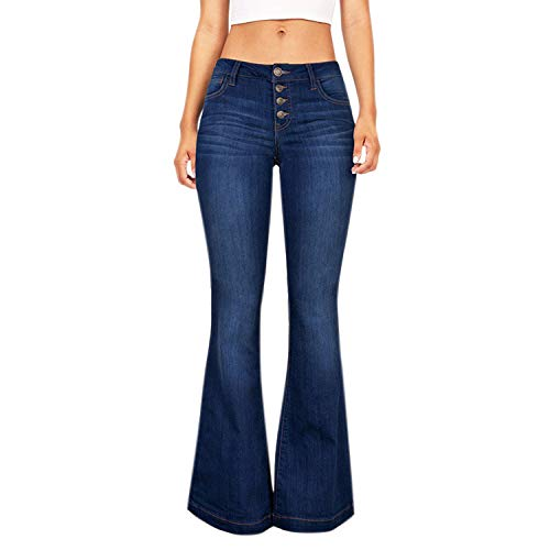 Petalum Damen Jeans Elegant Stretch Skinny Schlaghose Jeanshose Bootcut Hose Low Waist Weites Bein Retro Stil Denim Pants