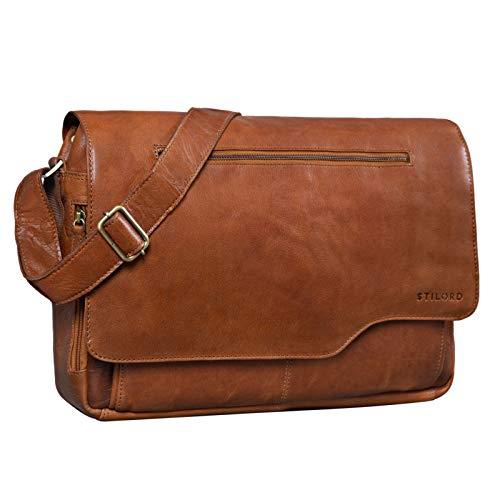 STILORD 'Marvin' Ledertasche Umhängetasche Modernes Vintage Design 15.6 Zoll Laptoptasche große Unitasche College Bag echtes Leder, Farbe:maraska - braun